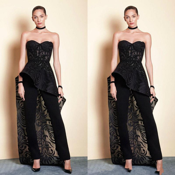 Tony Ward Black 2019 Prom Dresses Women Jumpsuit With Long Train Lace Beads Sweetheart Elegant Evening Gowns Plus Size Formal Dress