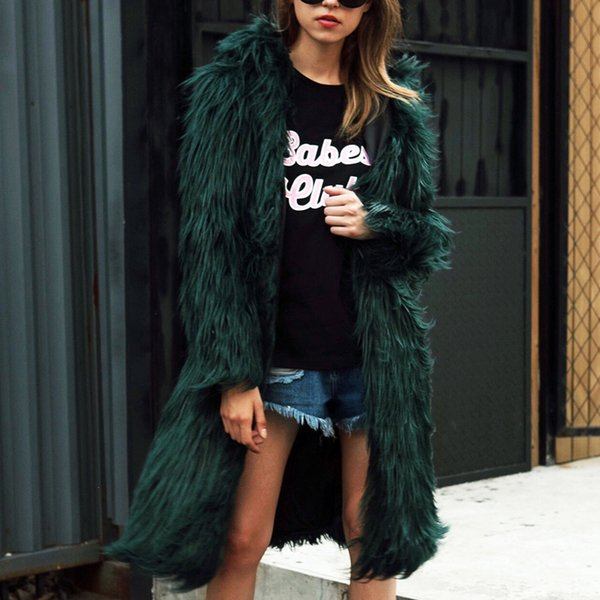 Hairy Long Style Faux Fur Coat Winter Fluffy Thicken Warmer Hoodie Hooded Coat Chic Outerwear Overcoat