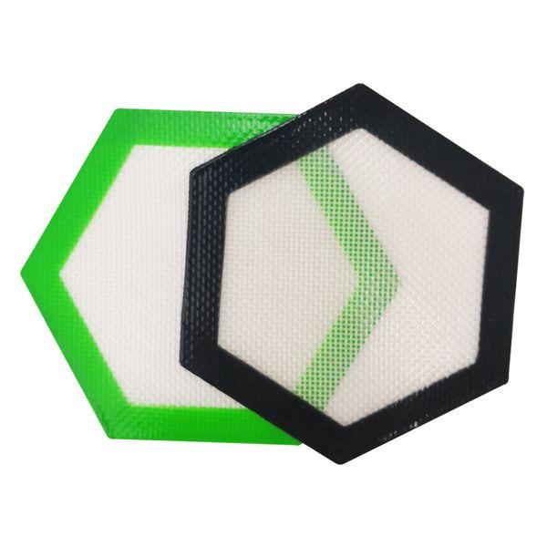 Qualità FDA food grade riutilizzabile non stick concentrato bho cera slick oil Esagono forma resistente al calore vetroresina silicone tampone pad tappetino