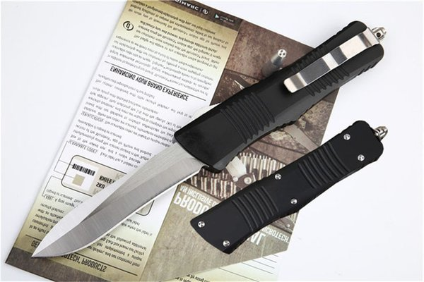 Outdoor Mirror Finish 7075 Pocket knife Aluminum Handle MK6 D2 Blade Double action Utility Automatic EDC Survival Hunting Knives J25M Y
