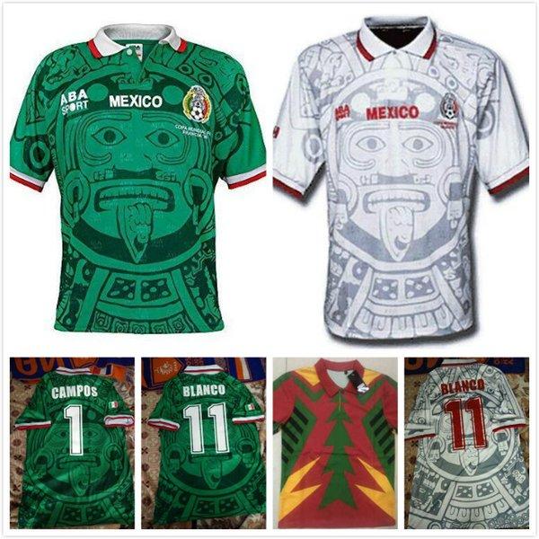 1998 MEXICO National Team RETRO BLANCO Classic Soccer Jerseys 98 Mexico Campos Hernandez Football Shirt Embroidery Logo
