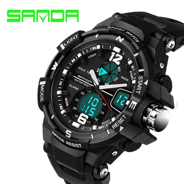 sanda g style fashion men watches waterproof sport dual display digital wristwatch s resistant watch montre homme - from $17.35