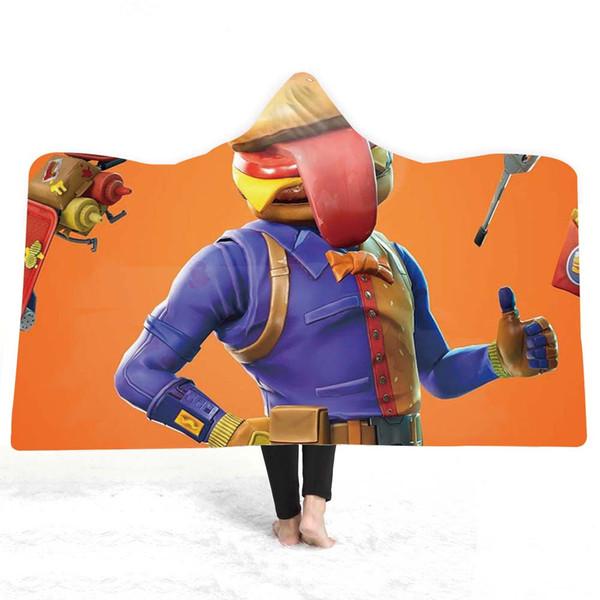 3D cartoon Hooded Blanket Sherpa Fleece Wearable plush Throw Blanket on Bed Sofa Thick warm B126