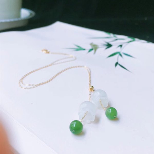 New 18K gold inlaid natural Hetian white jade bell orchid pendant necklace with certificate