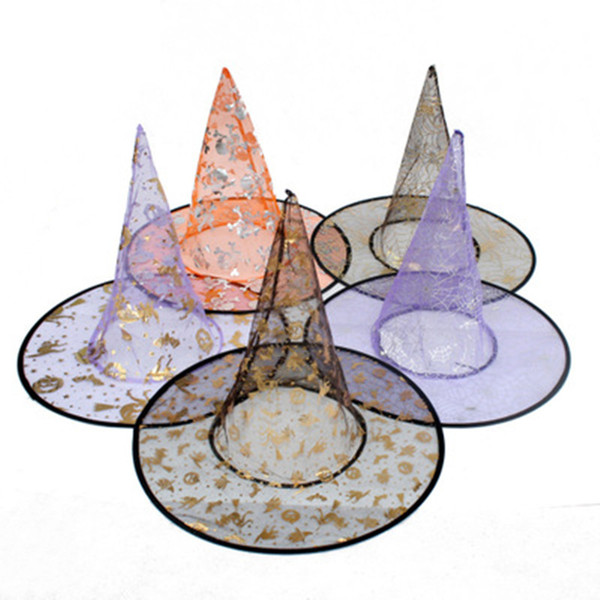 Colorful Fashion Halloween Costumes Decoration Fancy Hallowmas Party Props All Saints'Day Coolest Witches Wizard transparent Hats For girls