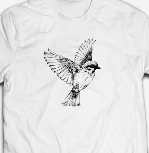 RETRO SPARROW BIRD NATURE ANIMAL WILDLIFE SKETCH 100% cotton Mens T-shirt TEE Men Women Unisex Fashion tshirt Free Shipping