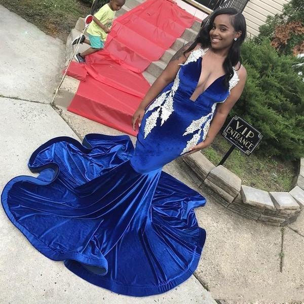 African Black Girls Royal Blue Velvet Русалка Пром платье Глубокого V шея Кружево Аппликация Длинные Плюс Размер Формальных партий вечера мантии