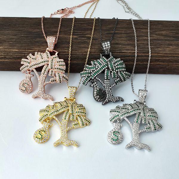 4 pezzi nuovo modo arcobaleno cz fascini del pendente albero di denaro asfaltate con la catena a maglia Collane gioielli NK449