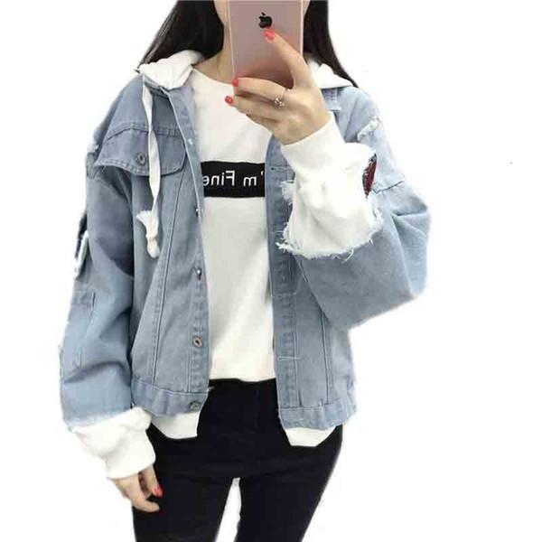 New Autumn Casual Hooded Denim Jacket Women Fake Two Pieces Boyfriend Trends Jean Pockets Loose Jackets Jeans Coat Female T190908