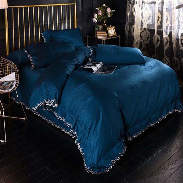 FB18016 Fashion Cotton Comforter Suit Orange Pink Blue Color Bedding Set Simple Bedding Kit AB Side Cotton Duvet Cover Quilt 4pcs/set