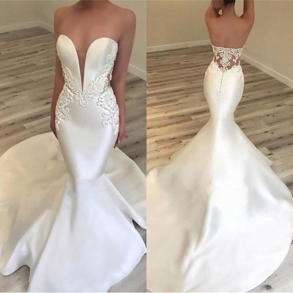 2019 элегантный милая Русалка атласные Простые свадебные платья сексуальные кружева видеть сквозь Sheer вырез стороны открытой спиной свадебные платья BC0628