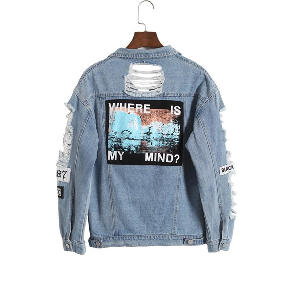2019Korea retro washing frayed tattered embroidery letter loose back patch jeans jacket