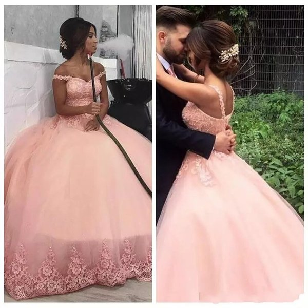 2019 New Blush Pink Ball Gown Prom Dresses Lace Appliques Beaded Sleeveless Spaghetti Floor Length Dubai Evening Quinceanera Party Gown