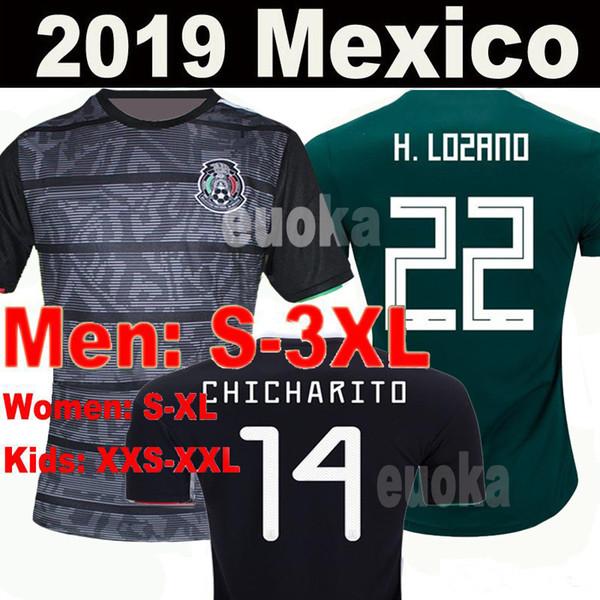 9343cc9e4a9 2019 Mexico GOLD CUP Black KIT Soccer Jerseys 2018 World Cup Home Away  CHICHARITO Camisetas de futbol H.LOZANO G.DOS SANTOS Shirts