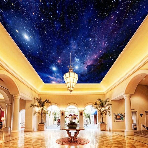 Sob encomenda da foto papel de parede céu estrelado night view teto mural arte moderna sala de estar cozinha papel de parede pintura mural de parede 3d