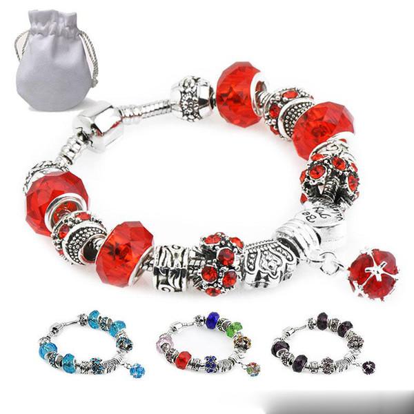 New Sfaccettato vetro di Murano Perline di cristallo Charms Bracciali Fit Pandora Logo Women CZ Gemstone Pendant Silver Bangle Female 11 Colors