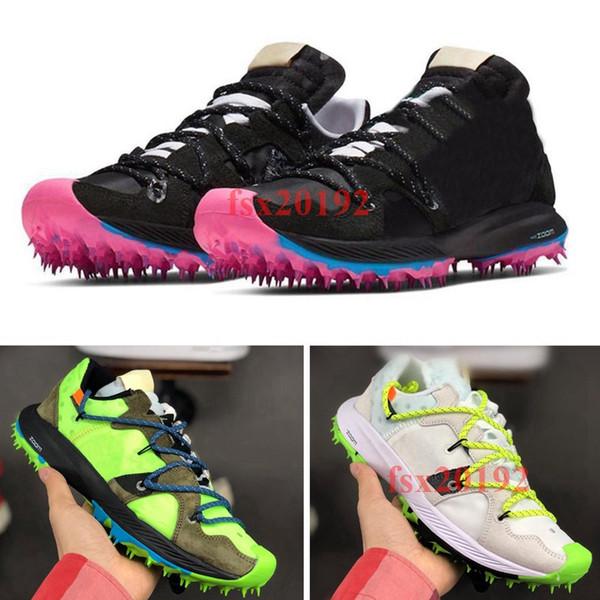 2019 Nuevo OFF WHITE x Nike Zoom Terra Kiger 5 Atleta en progreso Blanco Verde Negro Atleta en progreso Zapatillas para correr para hombre Zapatillas