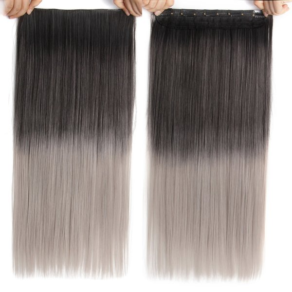 5clips In Blond Hair Extensions Long Straight 22inch Synthetic Black Brown In False Hairpieces Clips For Women 26 Colors