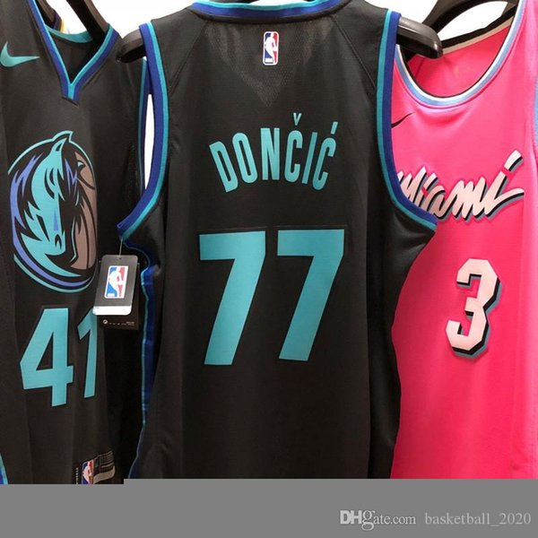 official photos b6b28 dbce4 2019 2020 Mens Mavericks 77# Luka Doncic Black Swingman Basketball Jersey  All Name And Number Printed On The Fabric Authentic US Size XXS XXL From ...