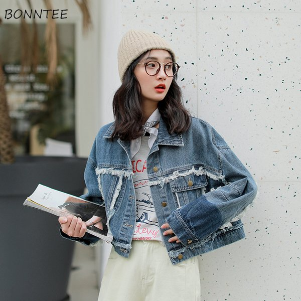 Giacche Donna Lovely Sweet Girls Studenti New Turn-down Tasche a colletto Casual monopetto stile coreano 2019 Chic All-match