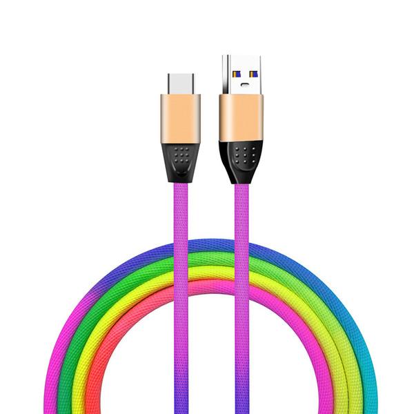 Buntes 1m 3ft USB verkabelt schnelles Aufladen 2A Qualitäts-Regenbogen-Datenkabel für androides Art C Smartphone Samsung Huawei LG