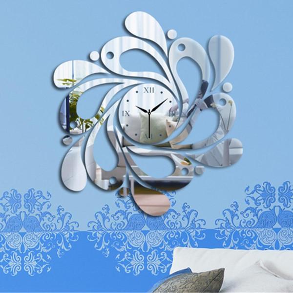 Moda New 3D Specchio Superficie Numeri romani Specchio decorativo Orologio da parete Adesivi Casa FAI DA TE Moda 3D adesivi specchio orologio da parete