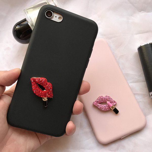 Mytoto 3D Sexy Rhinestone Lips Cute Vintage soft case for iphone 5 6 S 7 8 plus X XR MAX cover