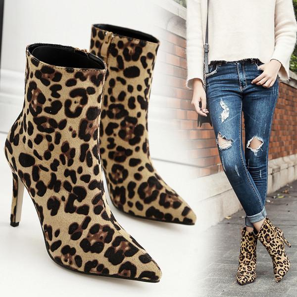 2019 Women Ankle Boots Sexy Flock high heels Point toe Zipper leopard half short winter Martin Shoes botas mujer stiletto