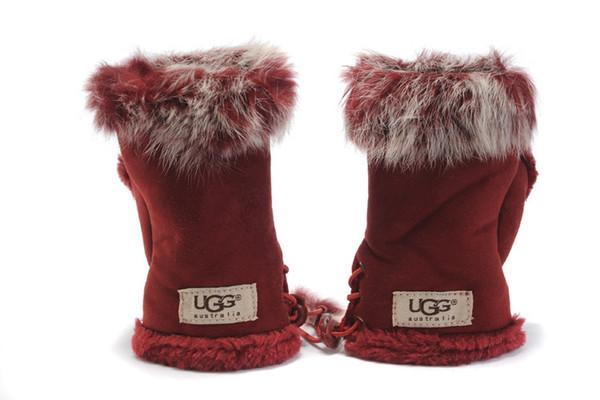 2019 Dew Finger U Gloves Knitting Wool Rabbit Hair Keep Warm Half Finger Glove Winter Pure Color Woman Fingerless Gloves 3 28ryE1