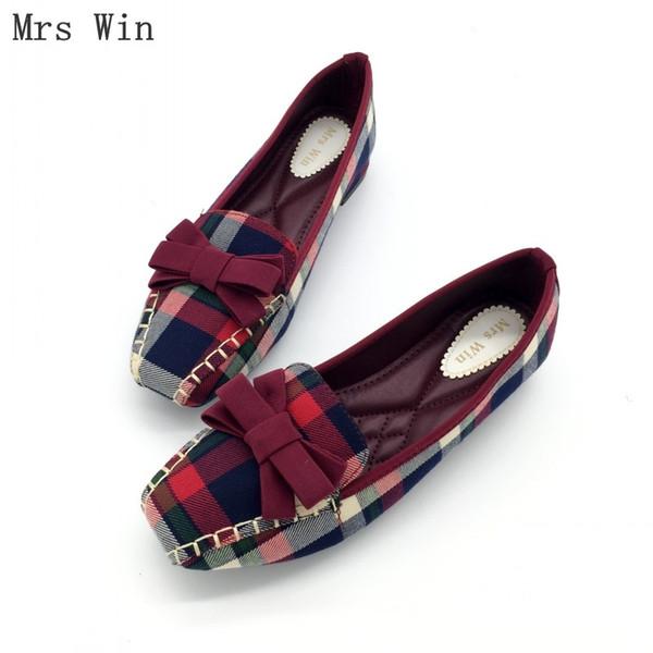 England Stil Gingham Frauen Casual Müßiggänger Frühling Herbst Karree Fliege Slip on Flats für Frau Damen Einzelne Schuhe Plus Größe