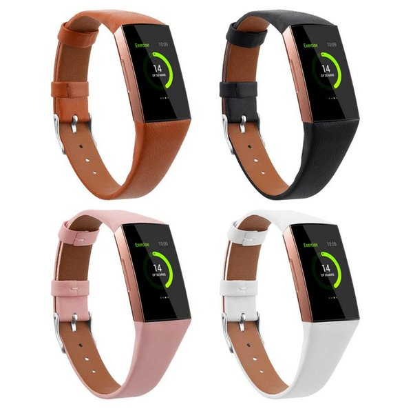 Leather Watch Band for Fitbit Charge 3 and Charge 3 SE Genuine Leather Band Strap Wristband for Women Men Small & Large