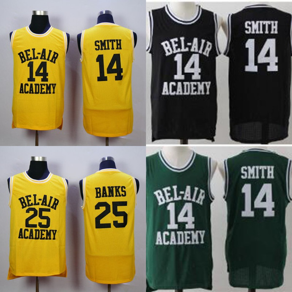 2d8ede604 Men Will Smith Basketball Jersey The Fresh Prince of Bel Air Academy 25  Carlton Banks 14