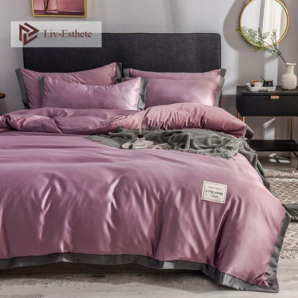 top popular Liv-Esthete Silk Bedding Set Love Home Silky Duvet Cover Flat Sheet Bed Linen Set Double Queen King Bedclothes Bed 2021