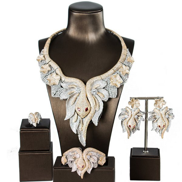 Wedding Jewelry Set Exaggerated Luxury 5A Zircon 18K Gold Plated Copper Alloy Snake Necklace Earrings Ring Bangle 4-Piece Set Jewelry JS590