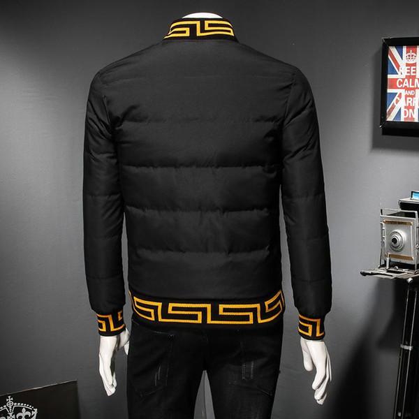 2018 Sonbahar ve Kış Erkekler Lüks Aşağı Ceket Kaban Nakış beyzbol Yaka Yüksek Kalite Kalın Erkek Tasarımcı Ceket Plus Size M-5XL