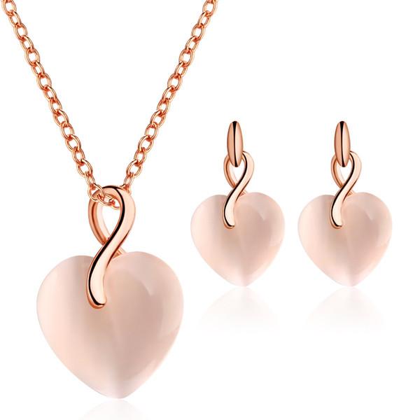 Mode en forme de coeur Luxe Opal Pendentif or couleur Ensemble romantique mariée bijoux pour femmes Collier Boucles d'oreilles 2 pièces de fiançailles de mariage cadeau