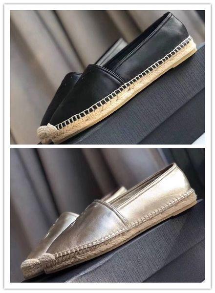 Designer 2019 Luxury Summer Spring flats loafers Girls Jute Rope Midsole Footbed Shoes Brand Lambskin Monogram Espadrilles dust bag