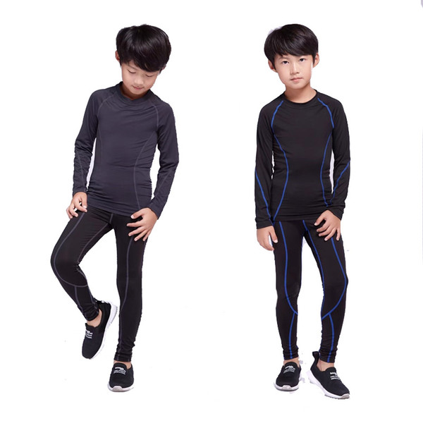 children rashgard kit football training thermal underwear base layer quick-drying pants sport shirt kids thumbnail