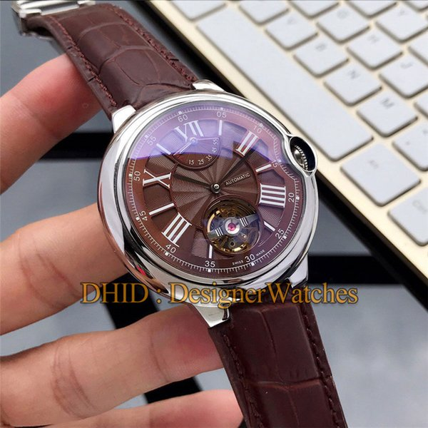 new mens watches flywheel luxury fashion men watch mechanical automatic movement wristwatches 45mm 316l steel case leather designer braclet