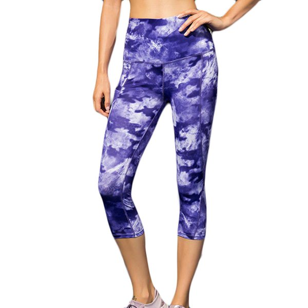 Ladies Printed Yoga Pants High Waist Trousers And Fitness Yoga Pants With Sloping Pockets Workout Sports Running Leggings #D1