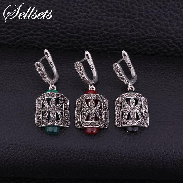 rop earrings Sellsets Vintage Silver Color Metal Fashion Dangle Drop Earrings Pave CZ Rhinestone And Red Green Black Resin Women Jewlery ...