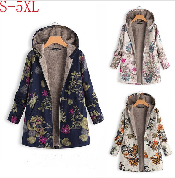 2018 Europe and the new winter fashion casual large size printing hooded Slim fleece ladies coat