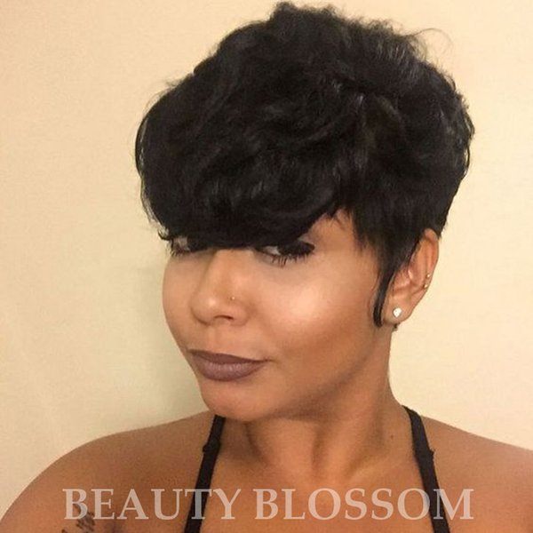 Pixie Cut Wig Short Human Hair Wigs 130% Density Wavy Brazilian Remy Hair Machine Made Wigs for Women Full End