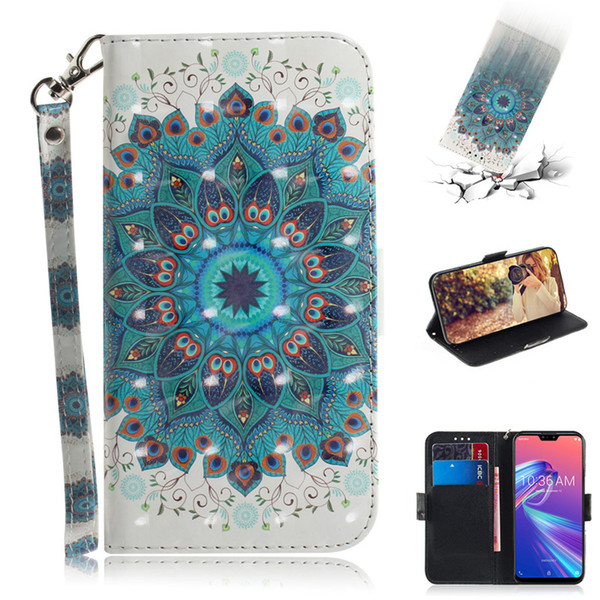 Flip Cover Wallet Stand For Asus Zenfone Max Pro (M2) ZB631KL Case 3D Painting PU Leather Soft Silicon Covers Mobile Phone Bags