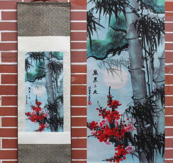 Satin Al Cam Bambu Ve Erik Cicegi Desen Ipek Boyama Dekorasyon