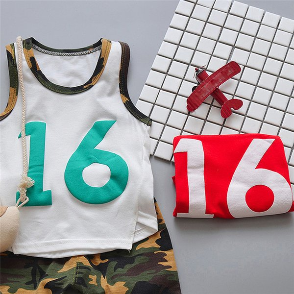 2PCS Summer Baby Sets Boy Toddler Baby Boy Sleeveless T-shirt Vest Tops+Camouflage Shorts Pants Sets Baby Boy Clothes M8Y24