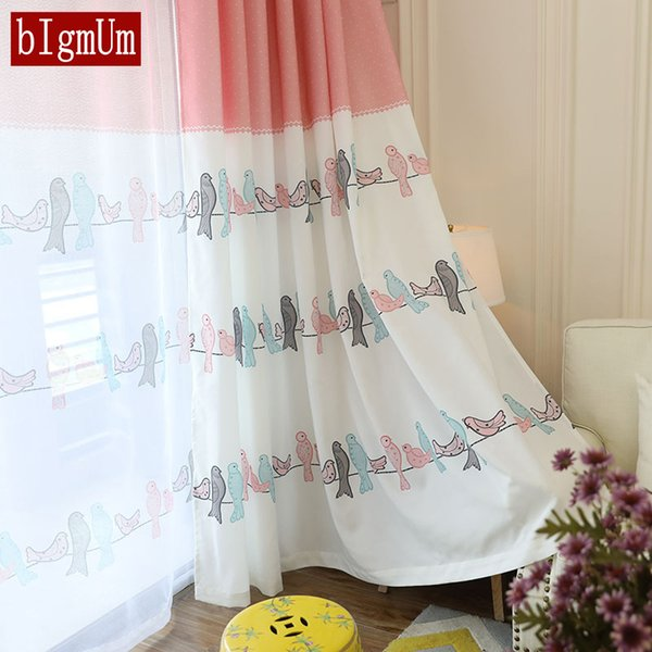 Fresh Curtains for Bedroom Window Birds for Room Pink Girl Animal Boys Home Panel Baby Kid Drapes Children Infant Floral Blinds