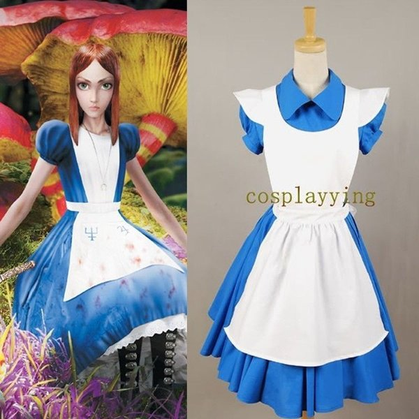 Accessories Cosplay Costumes Alice in Wonderland Movie Blue Cosplay Costume Outfit Suit Maid Dress Apron Hot For Halooween Party Women Gi...