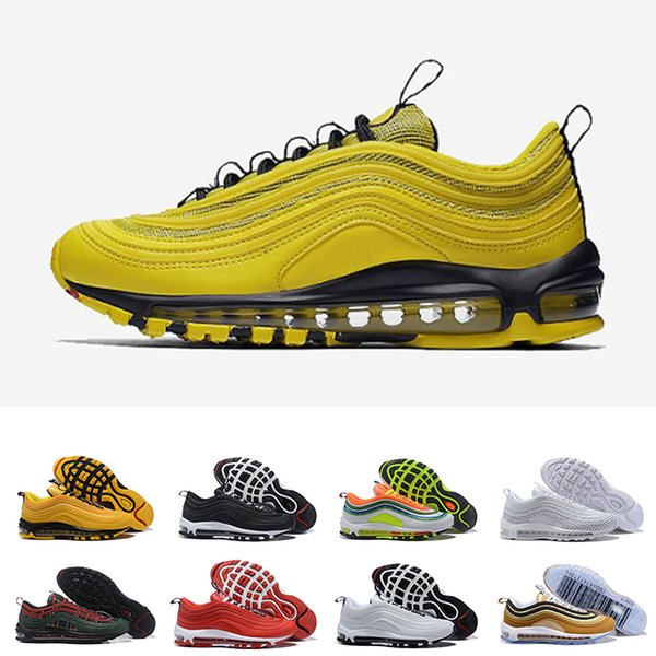 Wholesale 2019 97 Men Reflect Silver Game Royal Corduroy Red Leopard Pure Platinum Cushion 97 Bright Citron Running Shoes Women Sneakers
