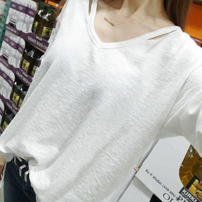2018 New Women Loose V-neck Strapless T-shirt Ladies Fashion Autumn Large Size Long-sleeved Simple T Shirt